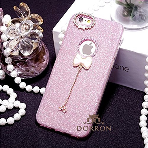 DORRON Fashion Girls iPhone 7Plus Pink - NEW Luxury Bling Rhinestone Bow-Knot Pendant Charms Glitter Back Case Cover - Perfect Slim Fit Flexible TPU For Apple iPhone 7 Plus - Pink (1G-SMKW-LZLN)