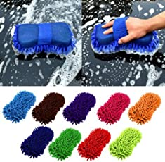 ONEPEARL one Pearl 2 in 1 Car Microfiber Cleaning Brush Cleaner Tools Wash Gloves (Multicolour)-Pack of 2