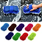 #10: One Pearl 2 in 1 Car cleaning brush Cleaner Tools Microfiber super clean Car Windows Cleaning Sponge Product Cloth Towel Wash Gloves (Pack Of 2)