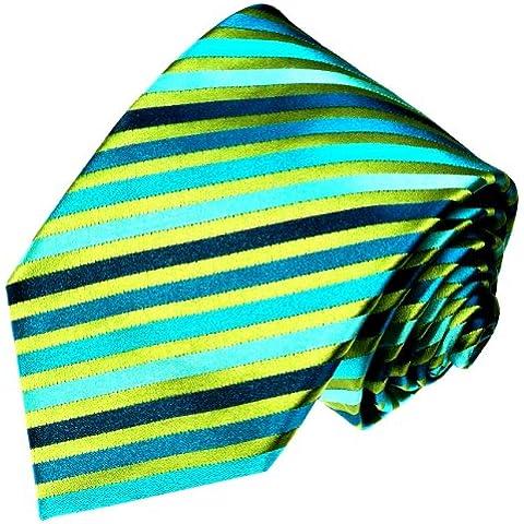 Lorenzo Cana–Verde Turquesa a rayas Diseñador corbata–Corbata de seda 100%–84148