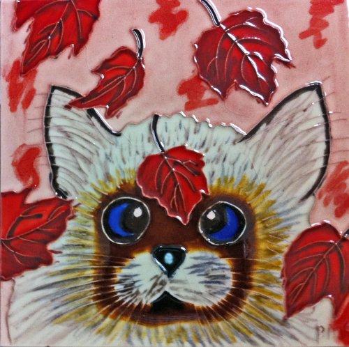 Continental Art Center bd-0421820,3cm Katze mit Falling Leaves Keramik Art Tile