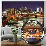 GREAT ART XXL Póster - Nueva York - Decoración Mural Puente De Brooklyn En La Noche Luminoso Rascacielos Skyline Wall Street Americano USA Cartel De Pared Y Decoración EE.UU (140 X 100 Cm)