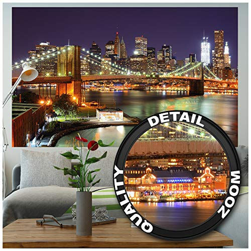 GREAT ART XXL Poster - New York - Wandbild Dekoration Brooklyn Bridge bei Nacht leuchtende Wolkenkratzer Skyline Wall Street USA Deko Wandposter Fotoposter Wanddeko Bild (140 x 100 cm)