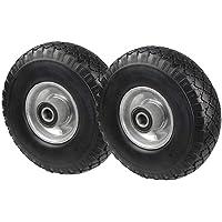 PU Rad 260 mm - Pannensicher je 130 Kg Traglast, Metallfelge 3.00-4 (Schwarz, 2 Stück)
