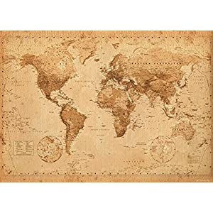 GB Eye Ltd, Mapa del Mundo, Antique Style, Poster Gigante, 100 x 140 cm