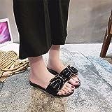 WHLShoes Damen-Sandalen Mode Hausschuhe Weiblichen Außenpool Im Sommer Flach Wort Diamond Wohnung Mit Casual Comfort Schwarz 37