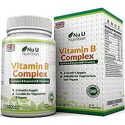 Vitamina B Complex - 180 Comprimidos (Suministro para 6 meses) - Contiene Ocho Vitaminas del grupo B por Comprimido: B1, B2, B3, B5, B6, B12, D-Biotina y Ácido Fólico - Complejo Vitamina B de Nu U Nutrition