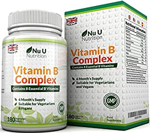 Vitamin B Complex 180 tablets (6 month supply) - Contains all Eight B Vitamins in 1 Tablet, Vitamins B1, B2, B3, B5, B6, B12, D-Biotin & Folic Acid
