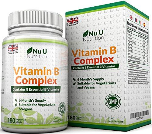 Vitamin B Complex 180 tablets (6 month supply) - Contains all Eight B Vitamins in 1 Tablet, Vitamins B1, B2, B3, B5, B6, B12, D-Biotin & Folic Acid Test