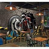 Tapisserie Photo 3D Papiers peints muraux vintage 3D autocollants de moto fond d'écran photo fond d'écran Home Bar Decor auto-adhésif vinyle/papier peint en soie-280X200CM