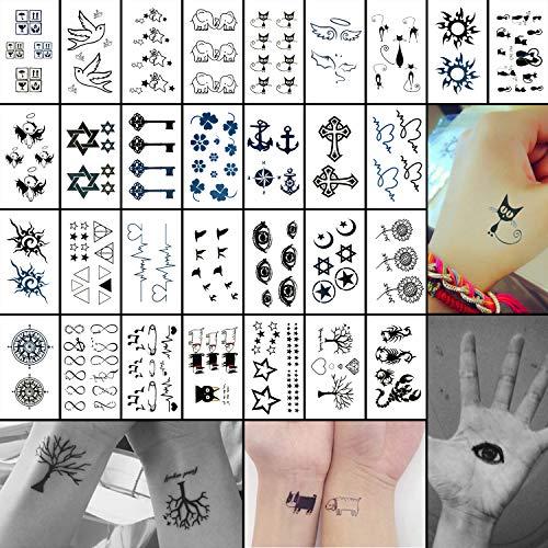 Oottati set di 30 piccoli tatuaggi temporanei - gatto nero, uccello occhio, bussola, stella, ancora, croce, fiori, albero chiavi, per bambini e adulti