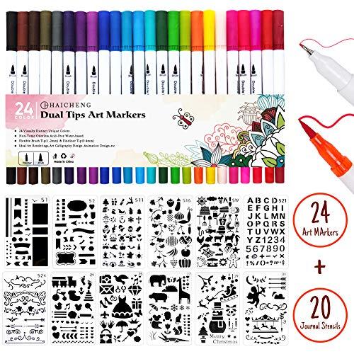 44 Stück Journal Schablonen und Journal Stifte Set, Dual Tip Pinsel Marker Stifte Fineliner Stifte Farbige Skizze Schreiben Zeichnen Stifte für Journal Notizen Taking and Maling Bücher