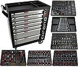Exclusive Edition Chrono XL * Werkzeugwagen * Werkstattwagen * 7 Schubladen / 6 gefüllt mit Handwerkzeug | Bit Sets, Ratschen, Nüsse und vieles mehr...