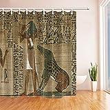 CDHBH Ägyptische Decor Ägyptische Alte Kunst Papyrus Zeigt die Horus Print Polyester-Duschvorhänge-Wasserdicht Badezimmer Vorhang Vorhang für die Dusche Badewanne Haken Enthalten 180,3x 180,3cm
