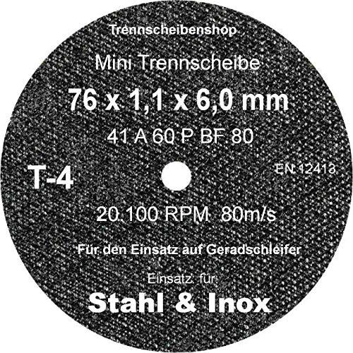 TTT-4_20 Stück. Trennscheibe, Ø 76 x 1,1 x 6,0 mm, Inox Edelstahl Eisen und sulfatfrei, Profi Scheibe, Super Premium.