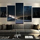 Telaio comprendono tela Wall Art cornici decorative immagini 5 Pannello il cielo stellato paesaggio Per Soggiorno Camera da letto stampe olio ,dimensione 2