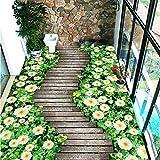 Lsfhb Benutzerdefinierte Boden Wandbild Tapete Blumen Holzbrett Kleine Straße 3D Bodenbelag Wohnzimmer Schlafzimmer Balkon Pvc Boden Aufkleber Home Decor-280X200Cm