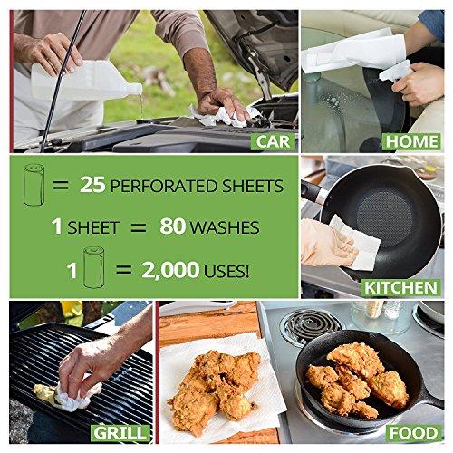 1x Bambus Küchenrolle – waschbare & wiederverwendbare Bambustücher, Haushaltstücher & Putzlappen zum z.B. Staub wischen – ersetzen Papiertücher - 4