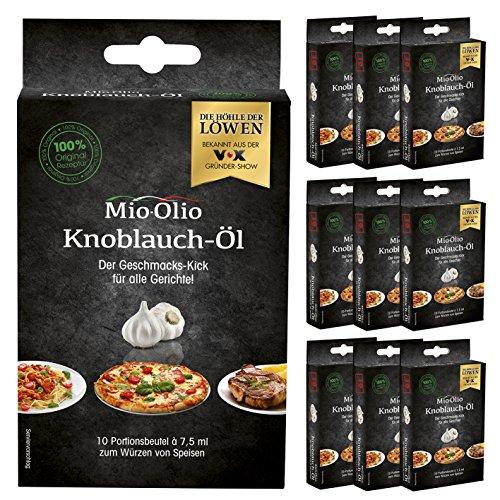 Mio-Olio | Zum Würzen von Speisen | Knoblauch Öl & Scharfes Chili Öl Für Pizza, Pasta, Fleisch, Fisch, Salate, u.v.m | 100% Original-Rezeptur | Ohne Konservierungsstoffe | 7.5 ml Je Portionsbeutel (100 Knoblauch)