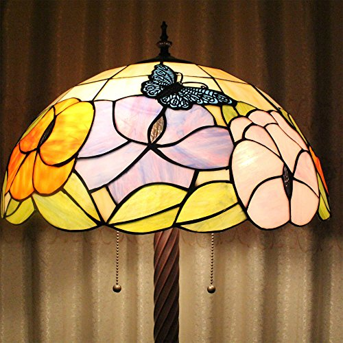 Cheapest Tiffany 16-Inch Butterfly Flower European Pastoral Style Elegant Luxury Creative Handmade Stained Glass Tiffany Floor Lamp Online