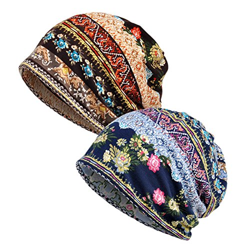 Damen Baumwolle Elastisch Slouchy Beanie Hut Blumen Kappe Schal (#A, 2)