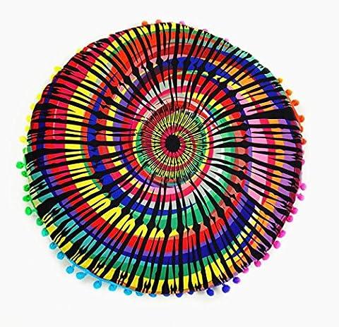 Zjene nouveaux Mode indien Mandala Sol oreillers rond Bohème Coussin Coussins oreillers Coque, E, 43*43cm/(17.0*17.0