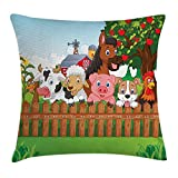 Bag hat Cartoon Pillow Case Collection of Cute Farm Animals on Fence Comic Mascots with Dog Cow Horse Kids Decor 18 X 18 inches