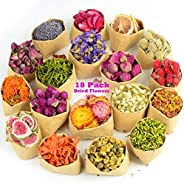 LAVEVE Dried Flowers, 18 Bags 100% Natural Dried Flowers Herbs Kit for Soap Making, DIY Candle, Bath, Resin Je