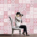 Stickers Murale, Sticker carrelage de style baroque rose, Autocollant mural sticker mural décoration murale pour décoration de chambre à coucher salon