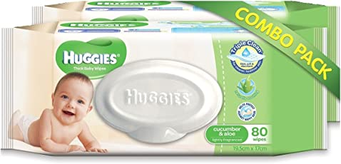 Huggies Cucumber and Aloe Thick Baby Wipes, 80s Pack Combo of 2 Packs (White)