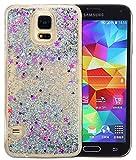 Samsung Galaxy S5 Hülle Glitzer,Samsung Galaxy S5 Hülle Transparent,Galaxy S5 Handyhülle,Roreikes Liquid Quicksand Bling Glitzer Fließen Flüssig Luxus Schön Ultradünne Transparente Gel Schutzhülle Rückschale Liquid Weiche Silikon Durchsichtige Stoßdämpfung Kristall Schale Bumper Etui Case Cover