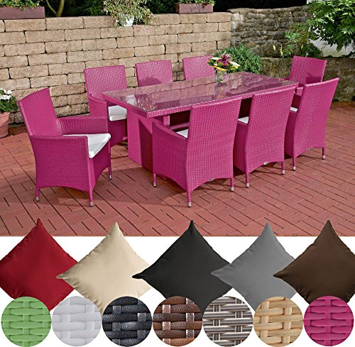 CLP Polyrattan-Sitzgruppe AVIGNON BIG | Garten-Set mit 8 Sitzplätzen | Komplett-Set bestehend aus: 1x Tisch und 8 Gartenstühlen inklusive Sitzauflagen | In verschiedenen Farben erhältlich Rattanfarbe: Pink, Bezugfarbe: Cremeweiß
