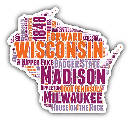 Wisconsin USA State Map Flag Cloud Hochwertigen Auto-Autoaufkleber 12 x 12 cm