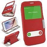 moex Samsung Galaxy S6 | Hülle Rot mit Sicht-Fenster Window Cover Schutzhülle Ultra-Slim Handyhülle für Samsung Galaxy S6 Case Flip Handy-Tasche Stand-Funktion
