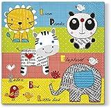 20 Servietten Tiere kennenlernen / Kinder / Löwe / Elefant / Zebra 33x33cm