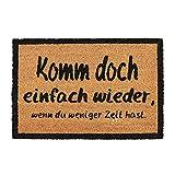 Relaxdays Fußmatte KOMM Wieder, aus Kokosfasern, rutschfeste Türmatte, innen und draußen, BxT: 60 x 40 cm, Natur/schwarz