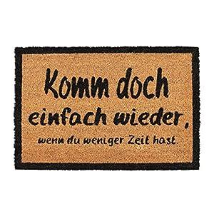Relaxdays, Natur/schwarz Fußmatte KOMM Wieder, aus Kokosfasern, rutschfeste Türmatte, innen und draußen, BxT: 60 x 40 cm, Standard