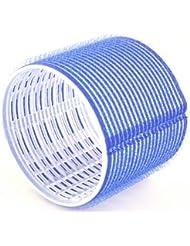 Hair Tools - Pack de 6 Rouleaux Velcro pour Cheveux - Taille Grand - Jumbo - 76 mm - Bleu Foncé