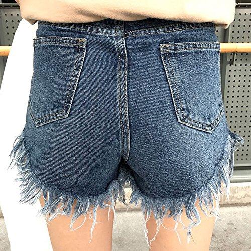 Damen Denim Shorts Weinlese Troddel Ripped Hot Pants Hoher Taille Kurze Jeans Blau