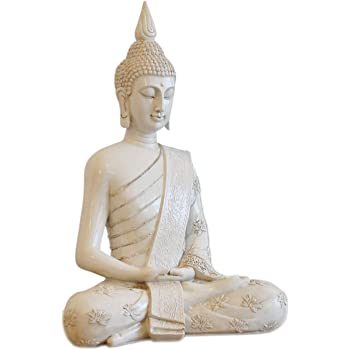 bouddha statue 40cm blanc pour l 39 int rieur ou l. Black Bedroom Furniture Sets. Home Design Ideas