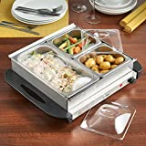 from VonShef VonShef 3 Tray Food Warmer Buffet Server  3 Large Pans Keep Food & Plates Hot For Longer  More Compact Than A Hostess Trolley  200W Electric Adjustable Temperature Control
