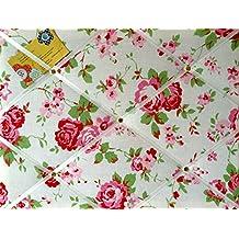 Medio 40x 30cm Cath Kidston/IKEA blanco Rosali Rose hecha a mano tela aviso/Pin/Memo/módulo de junta