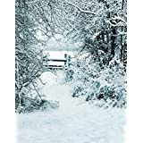 A.Monamour Scenic Winter White Snow Trees With Rimes Hoarfrost Christmas Holiday Mural Party Wall Decorations Vinyl Fabric Photography Backdrops 5x7ft - Bench In Park