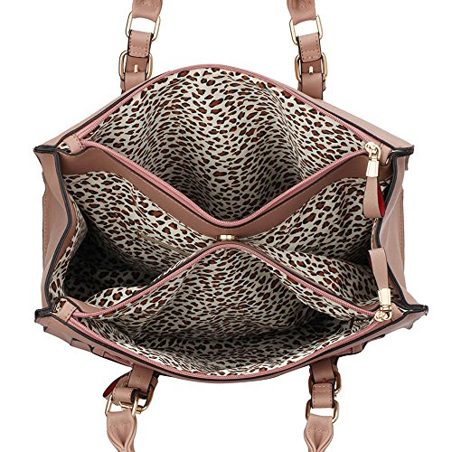 Trays for women (Braun) Haltegriffe Kunstleder Damenhandtaschen -Designer-Tasche Fronttasche Nude