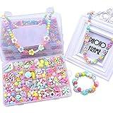 Eizur Stringing Perlen Spiel Schnürsystem Perlen Beads Spielzeug DIY Perlenschmuck zum Basteln von Schmuck Ketten Armbändern für Kindertag Kinder Geschenk Typ A - 450 Beads