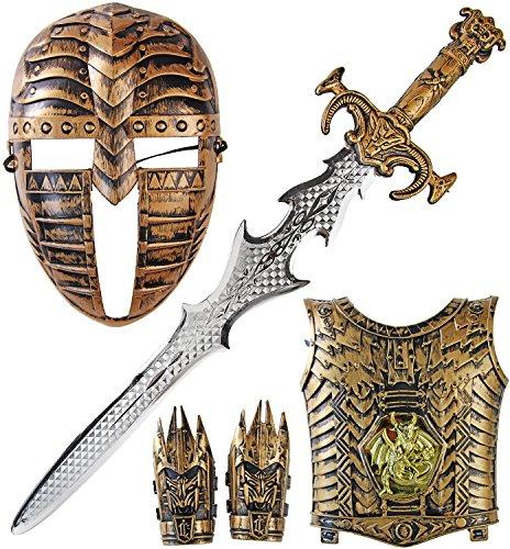 Mega coole Krieger Ritterrüstung mit Schwert (Mittelalter Krieger Kostüm)