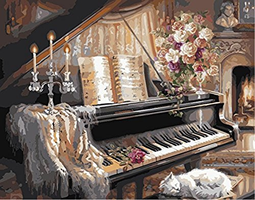 YEESAM ART New Paint by Numbers for Adults Children - Wonderful Life, Romantic Street Lovers 16*20 inches Linen Canvas - DIY Digital Painting by Numbers Kits on Canvas Junior Kids - Wall Art Artwork Landscape Paintings for Home Living Room Office Pictures Decor Decorations Gifts Diy Paint by Numbers Diy Canvas Kit for Advanced Seniors (Piano, Without Frame)