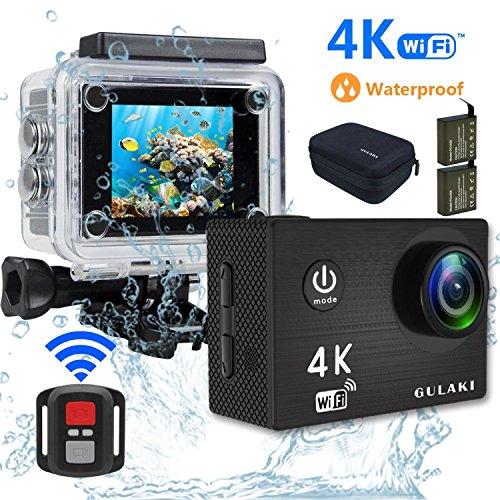Action Kamera 4K Wasserdicht, sports cam 16MP Wi-Fi Unterwasser Kamera 40M 2.0 Zoll LCD-Bildschirm 170 ° Weitwinkel mit Sony Sensor - 2 PCs 1050mAh Batterien und 2.4GHz Remote Zubehör Kits