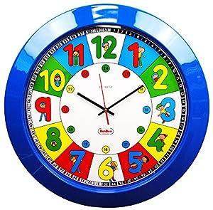 Henbea- Reloj Gigante didáctico con niños, Color Azul, 39x22cms (767)