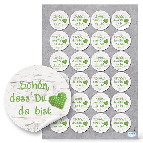 48 SCHÖN DASS DU DA BIST grün weiß HERZ GEPUNKTET Aufkleber rund Deko Verpackung Geschenke Hochzeit Kommunion Geburtstag Fest Geschenkaufkleber Sticker Etiketten